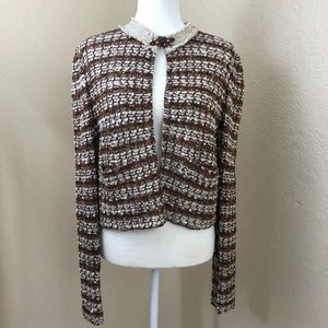 St. John Couture Open Front Jeweled Cardigan